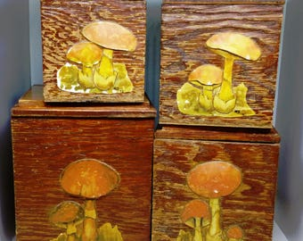 1972 Wooden Mushroom Kitchen Canister Set of 4 Containers Handmade Folk Art Rustic 70s 1970s Shroom Decor Box Lid Boho Hippie Coffee Tea