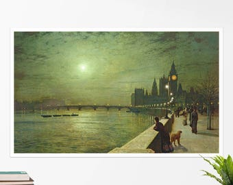 "John Grimshaw, ""Reflections on the Thames Westminster"". Art poster, art print, rolled canvas, art canvas, wall art, wall decor"