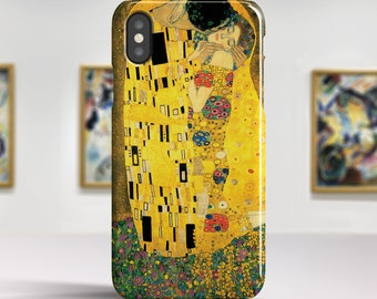 """Gustav Klimt """"The Kiss"""" iPhone X Case Art iPhone 8 Case iPhone 8 Plus Case iPhone 7 case iPhone 7 Plus Case and more iPhone X TOUGH cases."""