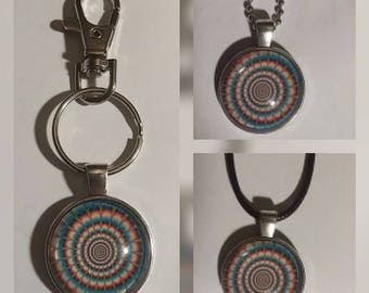 Illusion glass pendant on your choice of necklace or key chain
