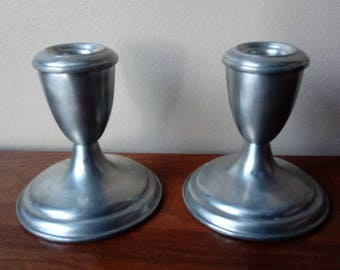 Pewter Metal Candle Stick Holders Vintage