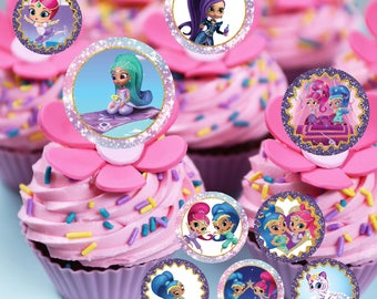 Shimmer and Shine Party package, Shimmer and Shine Cupcake Toppers, Shimmer and Shine Birthday Party, Cupcake Toppers | SH_FULL