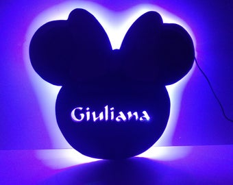 Lamp in the shape of Minnie with name on the inside