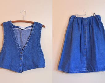 Denim Dress Vintage Two Piece Dress Matching Set Midi Skirt Button Up Womens size L Upcycled Clothing