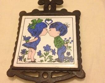 Vintage Retro blue green Tile Trivet - Taiwan - Oriental - Kitsh - Love - metal - Hand painted