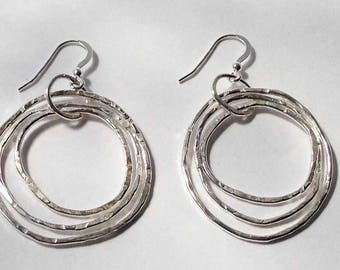 Sterling Silver Multiple Hoop Earrings/Handmade Hoop Earrings/Silver Earrings/Gift For Her/Dangling Hoop Earrings/Rustic Handmade Earrings