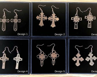 Dark Wooden Cross Earrings Rose Gold Effect Hook V Large Dangle Earings Gift Box