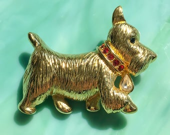 Animal Jewelry Brooch | Terrier Pin | Terrier Brooch | Gift for Her | Nature Jewelry | Dog Jewelry | Rhinestone Jewelry | Vintage Jewelry