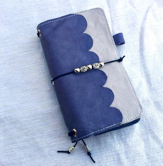 Cute personal sized refillable notebook in real purple leather, includes notebook inserts. Lots of handmade charm!