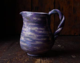 Lilac Sky Pitcher with Braided Handle