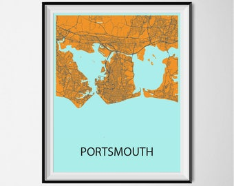 Portsmouth Map Poster Print - Orange and Blue