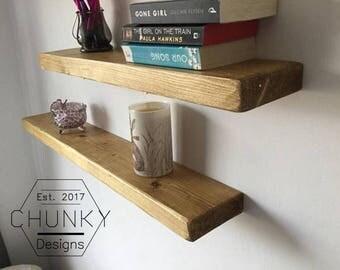Floating Shelf, Floating Bookshelf, Natural Wood, Farmhouse Wall Decor, Living Room Decor, Reclaimed Wood Shelves, Farmhouse Shelves, Rustic