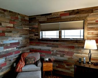 Ready To Install-Red, Grey, Brown Mix-Barnwood Planks-Barn Siding, Barn Wall Siding,Reclaimed Wood Wall,Red-Brown-Grey Barnwood