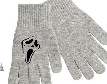 Scream Ghostface Ghost Face Wes Craven Touch Screen Compatible Texting Stretch Knit Gloves Winter Clothes Horror Halloween Merch Massacre