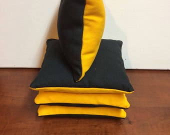 Black and yellow Steelers cornhole bags set of 4