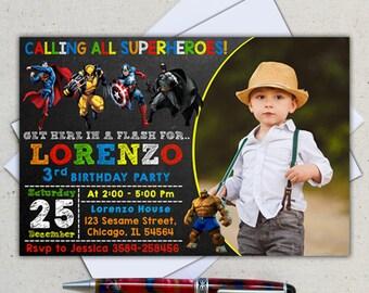 Superhero Invitation/ Superhero Birthday/ Superhero Birthday Invitation/ Avengers Invitation/ Superhero Invite/ Superhero Birthday Invite