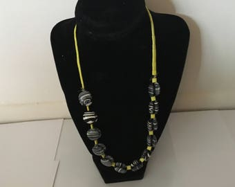 Yellow Zebra Print Necklace - 16in.