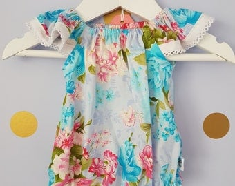 Baby girl floral seaside playsuit, blue floral romper size 0000 pretty romper ready to send
