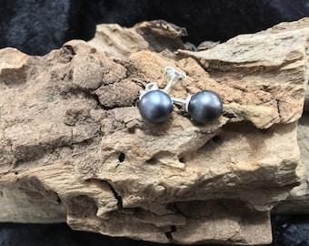 Black akoya pearl earrings