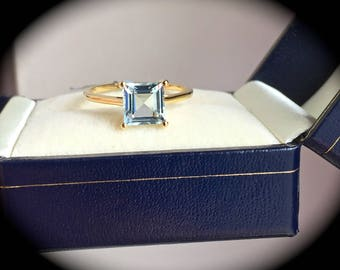"""Large 1.54ct Aquamarine Ring 9ct Yellow Gold Size P 1/2 (US 8) - """"Certified SI1-2""""  - Fab Colour & Amazing Clarity!"""