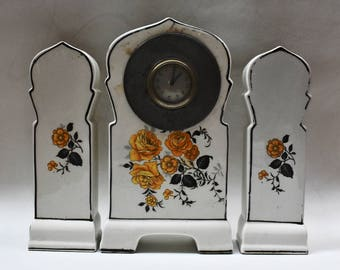 Vintage Ceramic Off White Three-piece Clock Set with Yellow Floral Decoration