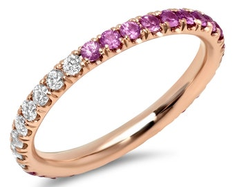 La Vie en Rose 14k Rose Gold, diamond and pink sapphire ombré eternity band