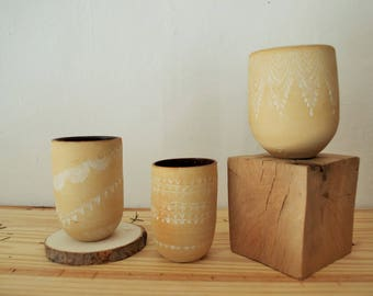 the 3 desert Cup (stoneware, porcelain decoration)