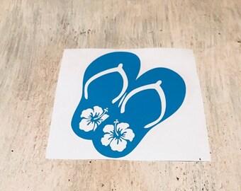 flip flops decal | Car Decal | Car Sticker | Vinyl Decal | Personalize any surface | Beach | Tablet Sticker | flip flops | Summer | Hybiscus