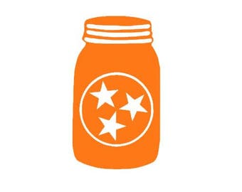 Tri Star Tennessee Mason Jar - Digital File - SVG Cut File - Silhouette