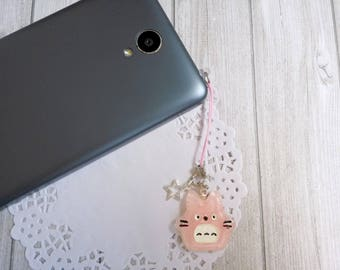 Pink Totoro resin dust plug phone strap