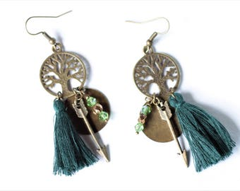 Tree of life Bronze earrings - dark - green PomPoms arrows - medallions - faceted beads