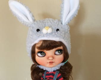 blythe bunny helmet, blythe helmet, blythe hat, blythe spring, blythe spring hat, blythe fur hat, chin strap