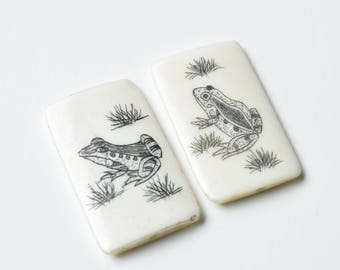 Vintage Scrimshaw Earring or Pendant Pair, Frog andToad, Jewelry, Crafts, DIY