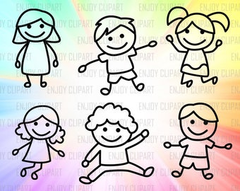 Stick Kids Svg, Stick Figure Svg, Stick People Svg, Cuttable Svg, Svg Bundle, Digital Cut Files, Svg Downloads, Cricut Downloads, Png Files