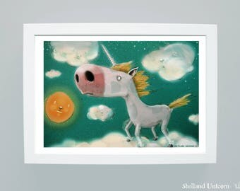 Shetland Unicorn- Quirky Children's Wall Art Illustration Print