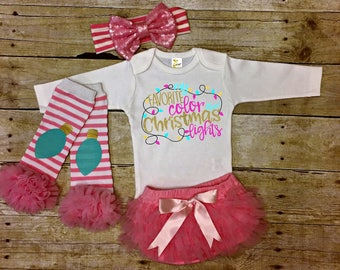 Christmas Lights, Newborn Christmas Outfit, Baby Girls Christmas Outfit, Baby Outfit, Baby Girls Outfit, Baby Christmas Outfit, Baby Gift