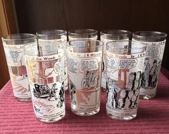 Set of 8 Vintage Bull of the Woods JR Williams Comic Tumblers Glasses Excellent!