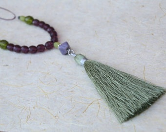 long tassel necklace/czech glass bead necklace/ beaded tassel necklaces/ eggplant and olive green necklace/ long tassel necklace/
