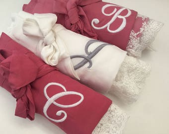bridesmaid robes, bridesmaid gifts, cotton lace robes , getting ready robes, bridal robes, wedding robes, gift for bride,  bridal party