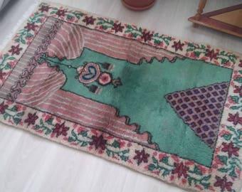 Oushak Rug Area Rug,Vintage Turkish Rug,Handmade Soft Home Decorative Rug,Home living,Office Decor Floor Rug,70x140cm,Rug, Rugs,