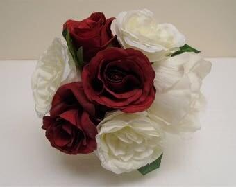 "CREAM RED Rose Peony Bundle 7 Artificial Silk Flowers 10"" Bouquet 8216CRRD"