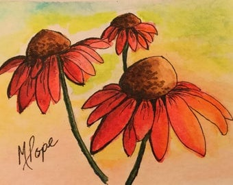 Cone Flowers/Pocket card/Ink and Watercolor/Trading cards/Cone flowers/Watercolor cards/Cone flower art/Floral card/miniature painting