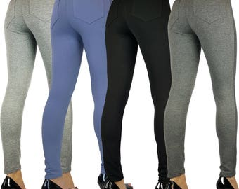 Womens Ladies Full Length Skinny Fit Leggings With Pockets 6 8 10 12 14 16 18