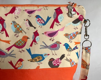 Fancy Feathered Friends - medium sized project bag for Knitting/Crochet