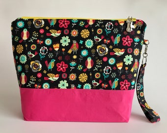 Neon Birds - Medium sized project bag for Knitting/Crochet