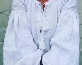 WHITE EMBROIDERY / Boho Style Ukrainian Embroidered Folk Women's Blouse/Vyshyvanka/Sorochka/Handmade /Flowers/ Stylish Embroidery
