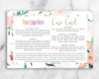 Boutique Care Card // Fashion Retailer Care Card // Fabric Card // Floral Card // 20% off!