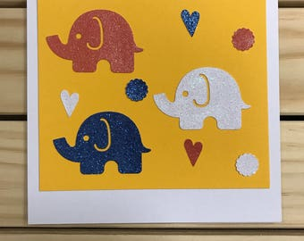 USA Patriotic Card/ Red//White/Blue Elephants/
