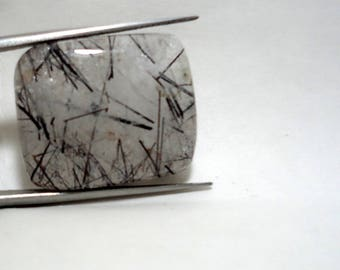 Merry Christmas Offer Sale 20 % Off Natural Black Rutile Quartz Gemstone Cabochan Square Shape 43 Cts. Size 20 x 20 x 6 MGJ 133
