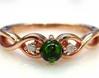 Sterling Silver Rose Gold Plated Cabochon Green Tourmaline Diamond Accent Ring
